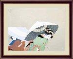 日本の名画 日本画 牡丹雪 上村 松園 手彩仕上 高精細巧芸画 Lサイズ