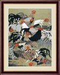 日本の名画 日本画 群鶏図(ぐんけいず) 伊藤 若冲 手彩仕上 高精細巧芸画 Mサイズ