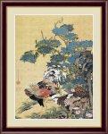 日本の名画 日本画 紫陽花双鶏図 伊藤 若冲 手彩仕上 高精細巧芸画 Mサイズ