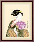 日本の名画 浮世絵 美人画 団扇を持つおひさ(うちわをもつおひさ) 喜多川 歌麿 手彩仕上 高精細巧芸画 Lサイズ
