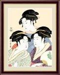 日本の名画 浮世絵 美人画 寛政の三美人 喜多川 歌麿 手彩仕上 高精細巧芸画 Lサイズ