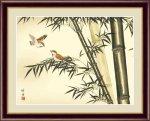 日本画 花鳥画 年中飾り 竹に雀055 田村 竹世 手彩仕上 高精細巧芸画 Mサイズ