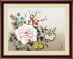 日本画 花鳥画 年中飾り 四季花 北山 歩生 手彩仕上 高精細巧芸画 Lサイズ