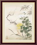 日本画 花鳥画 年中飾り 四君子053 北山 歩生 手彩仕上 高精細巧芸画 Lサイズ