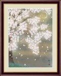 日本画 花鳥画 春飾り 三日月夜桜 森山 観月 手彩仕上 高精細巧芸画 Mサイズ