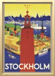 絵画 スカンジナビアンアート ストックホルム市庁舎 1936年 額入り アートフレーム 壁掛け 飾る リビング インテリア 北欧 プレゼント ギフト ポスター 3Lサイズ