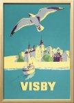 絵画 スカンジナビアンアート ヴィスヴィーとかもめ 1956年 額入り アートフレーム 壁掛け 飾る リビング インテリア 北欧 かもめ 船 プレゼント ギフト ポスター 3Lサイズ