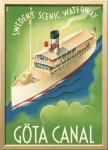 絵画 スカンジナビアンアート ヨータ運河 1936年 額入り アートフレーム 壁掛け 飾る リビング インテリア 北欧 船 プレゼント ギフト ポスター 3Lサイズ