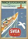 絵画 スカンジナビアンアート スベアライン船の旅 1955年 額入り アートフレーム 壁掛け 飾る リビング インテリア 北欧 船 かもめ プレゼント ギフト ポスター 3Lサイズ