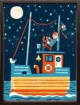 絵画 ティモ・マンッタリ パイレーツ 額入り アートフレーム 壁掛け 飾る リビング 玄関 インテリア 北欧 船 海賊 夜 月 かわいい プレゼント ギフト ポスター Mサイズ