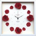 時計 ローズ クロック ワインレッド 掛け時計 ウォールクロック インテリア 壁掛け ギフト プレゼント 新築祝い おしゃれ 飾る かわいい アート バラ 造花 Mサイズ