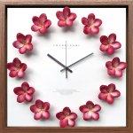 時計 プルメリア クロック フクシア 掛け時計 ウォールクロック インテリア 壁掛け ギフト プレゼント 新築祝い おしゃれ 飾る かわいい アート ハワイアン 造花 Lサイズ