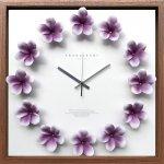 時計 プルメリア クロック パープル 掛け時計 ウォールクロック インテリア 壁掛け ギフト プレゼント 新築祝い おしゃれ 飾る かわいい アート ハワイアン 造花 Lサイズ