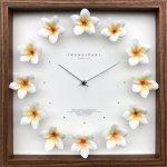 時計 プルメリア クロック 掛け時計 ウォールクロック インテリア 壁掛け ギフト プレゼント 新築祝い おしゃれ 飾る かわいい アート ハワイアン 造花 Mサイズ