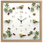 時計 ディスプレイ クロック バード/イエロー 掛け時計 ウォールクロック インテリア 壁掛け ギフト プレゼント 新築祝い おしゃれ 飾る かわいい カラフル 小鳥 Mサイズ