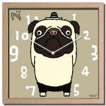 時計 アーティスト クロック 武内 祐人 パグ 掛け時計 ウォールクロック インテリア 壁掛け ギフト プレゼント 新築祝い おしゃれ 飾る かわいい 犬 Dog Mサイズ