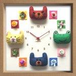 時計 ディスプレイ クロック アニマル クロック フェルト 1 掛け時計 ウォールクロック インテリア ギフト プレゼント 新築祝い おしゃれ 飾る かわいい 動物 カラフル 子ども部屋 Mサイズ