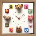 時計 ディスプレイ クロック アニマル クロック フェルト 2 掛け時計 ウォールクロック インテリア 壁掛け プレゼント 新築祝い おしゃれ 飾る かわいい 動物 カラフル 子ども部屋 Mサイズ