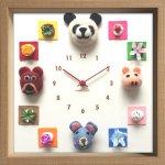 時計 ディスプレイ クロック アニマル クロック フェルト 3 掛け時計 ウォールクロック インテリア 壁掛け ギフト プレゼント 新築祝い おしゃれ かわいい 動物 カラフル 子ども部屋 Mサイズ