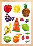 《絵画》あおむしとフルーツ(Caterpillar With Fruits) エリック・カール(Eric Carle)