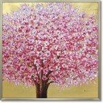 絵画 オイル ペイント アート「ゴールデン サクラ」 桜 油絵 インテリア 壁掛け 額入り 風景画 額装込 手描き リビング 玄関 ギフト おしゃれ モダン 飾る 花 プレゼント さくらの木 お祝い