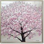 絵画 オイル ペイント アート「シルバー サクラ」 桜 油絵 インテリア 壁掛け 額入り 風景画 額装込 手描き リビング 玄関 ギフト おしゃれ モダン 飾る 花 プレゼント さくらの木 お祝い