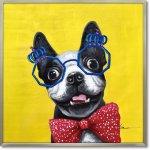 絵画 オイル ペイント アート「コメディアン ドッグ」 油絵 インテリア リビング プレゼント 犬 壁掛け 手描き 額入り 額装込 ポスター アート モダン 玄関 アートフレーム おしゃれ ギフト