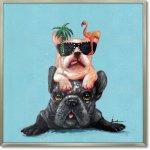 絵画 オイル ペイント アート「ドッグ オン ドッグ」 油絵 インテリア リビング プレゼント 犬 壁掛け 手描き 額入り 額装込 ポスター アート モダン 玄関 店舗 飾る ギフト お祝い 動物画