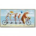 絵画 オイル ペイント アート「アニマル サイクリング」 油絵 インテリア プレゼント 壁掛け 手描き ポスター アート モダン 玄関 リビング おしゃれ かわいい 犬 ドッグ クマ ギフト お祝い