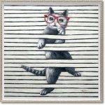 絵画 オイル ペイント アート「キャット プレイ(Mサイズ)」 油絵 インテリア ギフト 壁掛け 手描き 額入り 額装込 アート モダン リビング 玄関 プレゼント 猫 動物画 お祝い 飾る