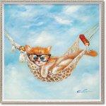 絵画 オイル ペイント アート「ハンモック キャット(Mサイズ)」 油絵 インテリア プレゼント 手描き 壁掛け ギフト モダン リビング 玄関 アートフレーム 猫 動物画 お祝い 飾る おしゃれ