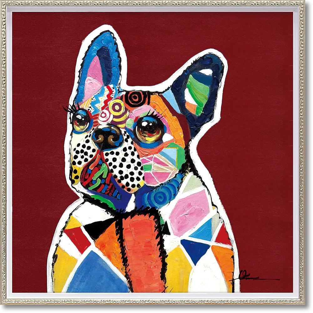 絵画 オイル ペイント アート「イノセント ドッグ(Mサイズ)」 油絵 インテリア 壁掛け ギフト 手描き 額入り 額装込 アート モダン おしゃれ プレゼント 犬 カラフル 動物画 お祝い 飾る