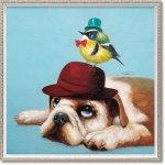 絵画 オイル ペイント アート「ハット ブラザーズ(Mサイズ)」 油絵 インテリア 壁掛け ギフト プレゼント 手描き 額入り モダン アートフレーム おしゃれ 犬 小鳥 動物画 お祝い 飾る 額装込