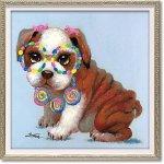 絵画 オイル ペイント アート「ロリポップ パピー(Sサイズ)」 油絵 インテリア 壁掛け ギフト 手描き プレゼント 額装込 モダン リビング 玄関 おしゃれ 犬 ドッグ 動物画 かわいい カラフル