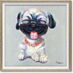 絵画 オイル ペイント アート「アッカンベー(Sサイズ)」 油絵 インテリア プレゼント 壁掛け 手描き 額入り ポスター リビング 玄関 おしゃれ 犬 ドッグ 動物画 かわいい カラフル お祝い