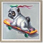 絵画 オイル ペイント アート「スケボー ドッグ(Sサイズ)」 油絵 インテリア プレゼント 壁掛け 手描き 額入り モダン リビング 玄関 おしゃれ 犬 ドッグ 動物画 かわいい お祝い 飾る