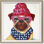 絵画 オイル ペイント アート「ピンクグラス ドッグ(Sサイズ)」 油絵 インテリア プレゼント 犬 手描き 額入り モダン リビング 玄関 アートフレーム おしゃれ 動物画 かわいい お祝い 飾る