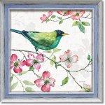 絵画 リサ オーディット「ドッグウッド ガーデン2」 インテリア 壁掛け 油絵 リビング 飾る 小鳥 花 フラワー ギフト おしゃれ アート モダン アートフレーム ポスター 動物画 かわいい お祝い