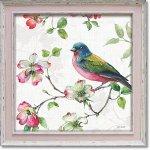 絵画 リサ オーディット「ドッグウッド ガーデン3」 インテリア 壁掛け 油絵 リビング 飾る 小鳥 花 フラワー ギフト おしゃれ アート モダン アートフレーム ポスター 動物画 かわいい お祝い