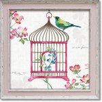 絵画 リサ オーディット「ドッグウッド ガーデン6」 インテリア 壁掛け 油絵 リビング 飾る 小鳥 花 フラワー ギフト おしゃれ アート モダン アートフレーム ポスター 動物画 かわいい お祝い
