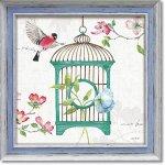 絵画 リサ オーディット「ドッグウッド ガーデン7」 インテリア 壁掛け 油絵 リビング 飾る 小鳥 花 フラワー ギフト おしゃれ アート モダン アートフレーム ポスター 動物画 かわいい お祝い