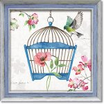 絵画 リサ オーディット「ドッグウッド ガーデン8」 インテリア 壁掛け 油絵 リビング 飾る 小鳥 花 フラワー ギフト おしゃれ アート モダン アートフレーム ポスター 動物画 かわいい お祝い