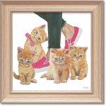 絵画 エミリー アダムス「キューティー キティ1」 インテリア 額入り 絵 壁掛け 飾る 猫 子猫 風景画 かわいい 動物 壁飾り 額装込 癒やし プレゼント ギフト  アート フレーム ポスター
