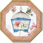 絵画 八角 ミニゲル アートフレーム リサ オーディット「ドッグウッド ガーデン8」 ゆうパケット  インテリア 壁掛け 卓上 おしゃれ 絵 飾る 額入り プレゼント リビング 玄関 寝室