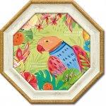 絵画 八角 ミニゲル アートフレーム ファリダ ザマン「トゥッティ フルッティ5」 ゆうパケット  インテリア 鳥 カラフル 壁掛け 卓上 おしゃれ 絵 飾る 額入り リビング 玄関 寝室 プレゼント
