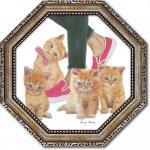 絵画 八角 ミニゲル アートフレーム エミリー アダムス「キューティー キティ1」 ゆうパケット  猫 壁掛け インテリア リビング 玄関 寝室 プレゼント ギフト 卓上 おしゃれ 絵 飾る 額入り