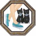 絵画 八角 ミニゲル アートフレーム エミリー アダムス「キューティー キティ3」 ゆうパケット  猫 壁掛け インテリア リビング 玄関 寝室 プレゼント ギフト 卓上 おしゃれ 絵 飾る 額入り