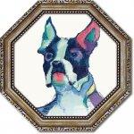 絵画 八角 ミニゲル アートフレーム エイヴリー ティルモン「ユリシーズ ウォーターカラー」 ゆうパケット  インテリア 壁掛け リビング 玄関 寝室 プレゼント 額入り 卓上 おしゃれ 絵 犬 飾る