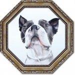 絵画 八角 ミニゲル アートフレーム エイミー デル バレ「バード ウォッチング」 ゆうパケット  インテリア おしゃれ 絵 飾る 額入り プレゼント ギフト 犬 リビング 玄関 寝室 壁掛け 卓上