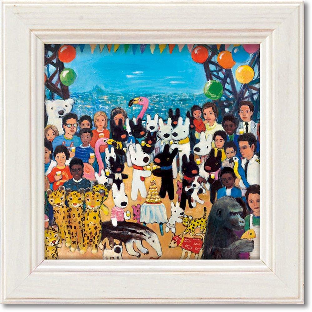 絵画 リサとガスパール ミニアートフレーム「リサとガスパール誕生20周年SANT?」 ゆうパケット  かわいい インテリア 飾る 額入り プレゼント ギフト 壁掛け 卓上 おしゃれ リビング 玄関